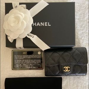 Chanel Black Caviar Quilted 4 Key Holder